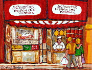 Outdoor Cafes Posters - Paintings Of Schwartzs Delicatessen Famous Smoked Meat Restaurant Montreal Art Scenes Poster by Carole Spandau