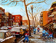 Hockey Painting Posters - Paintings Of Verdun Streets In Winter Hockey Game Near Row Houses Montreal City Scenes Poster by Carole Spandau