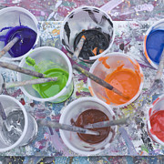 Acrylic Art Photo Posters - Paints and Brushes in Plastic Cups Poster by Noam Armonn