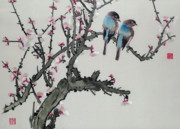 Featured Prints - Pair of birds on a cherry branch Print by Chinese School