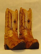 Woodcarving Sculpture Originals - Pair of Cowboy Boots by Russell Ellingsworth
