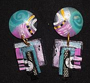 Earrings Jewelry - Pair Of Hand Painted Earrings by Barbara Yalof