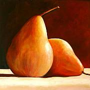 Pear Art Metal Prints - Pair of Pears Metal Print by Toni Grote