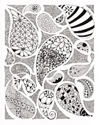 Patterns Drawings Prints - Paisley Print by Paula Dickerhoff