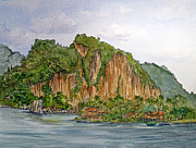 Southeast Asia Paintings - Pak Ou Village on the Maekong River by Bonnie Sue Schwartz