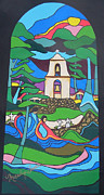 Churches Painting Originals - Pala Mission California by Marilyn Anne Fraser