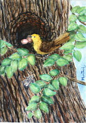 Starlings Paintings - Palace in the Tree with Cicada Song by Phong Trinh