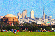 Palace Of Fine Arts Prints - Palace of Fine Arts . Transamerica Tower . San Francisco Skyline Viewed From Crissy Fields Print by Wingsdomain Art and Photography