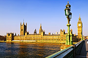 Streetlight Photo Framed Prints - Palace of Westminster from bridge Framed Print by Elena Elisseeva