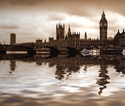 Flood Digital Art Prints - Palace of Westminster Print by Sharon Lisa Clarke