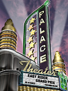 Sunset Posters Digital Art Framed Prints - Palace Theater Framed Print by Anthony Ross