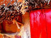 Michael Metal Prints - Palapa with Red Door by Michael Fitzpatrick Metal Print by Olden Mexico