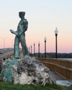 Palatka Bridge Prints - Palatka Memorial Bridge Navy Print by Angie Bechanan