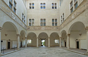 Hill Town Framed Prints - Palazzo Piccolomini Courtyard Framed Print by Rob Tilley