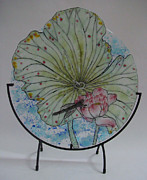 Circle Glass Art Originals - Pale Lotus by Michelle Rial