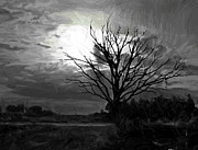Ghost Tree Prints - Pale Moon Rising Print by Stefan Kuhn