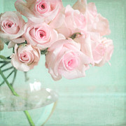 Textured Floral Prints - Pale Pink Roses Print by Lyn Randle