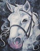Joseph Palotas Art - Pale White Horse by Joseph Palotas