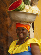 Local Prints - Palenquera in Cartagena Colombia Print by Anna Smith