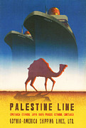 Shipping Digital Art Posters - Palestine Line Poster by Nomad Art And  Design