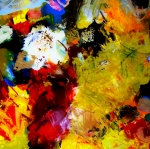 Gestural Painting Posters - Palette Abstract Square Poster by Michelle Calkins