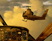 Helicopter Tapestries Textiles Framed Prints - Palette of the Aviator Framed Print by Dieter Carlton