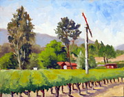 Grapevines Painting Originals - Palisades Drive Vineyards by Char Wood
