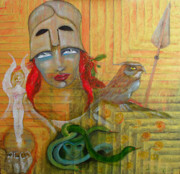 Warrior Goddess Paintings - Pallas Athena by Erika Brown