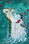 Kevin Brant Paintings - Pallet Knife Jumping Tarpon by Kevin Brant