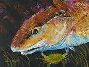 Blue Crab Paintings - Pallet Knife Redfish and Blue Crab by Kevin Brant