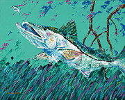 Kevin Brant Prints - Pallet knife Snook in the Mangroves Print by Kevin Brant