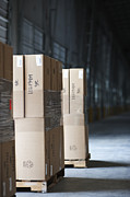 Pallets Of Stacked Boxes Print by Jetta Productions, Inc