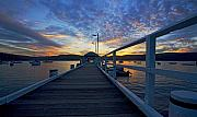 Sunset Tapestries Textiles Metal Prints - Palm Beach wharf at dusk Metal Print by Sheila Smart