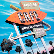 Signage Paintings - Palm Cafe by Anthony Ross