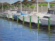Docked Boats Painting Posters - Palm Coast Marina Poster by Robert Rohrich