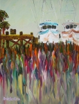 Living Artist Paintings - Palm Dock by Anne Jenkins