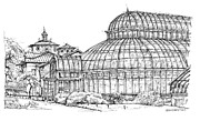 Wedding Venue Drawings Prints - Palm House in Brooklyn Botanic Gardens Print by Lee-Ann Adendorff