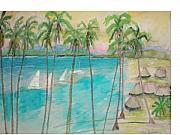 South Pacific Drawings Prints - Palm Island Print by Hal Newhouser