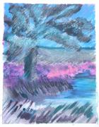 Mix Media Mixed Media Prints - Palm of the Night Print by Judy Loper
