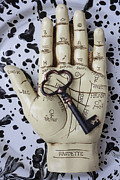 Fortune Framed Prints - Palm reading hand and key Framed Print by Garry Gay