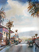 Asphalt Paintings - Palm Springs drizzle by John D Mabry