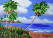 Calif. On Google Painting Originals - Palm Trees by Bob Phillips