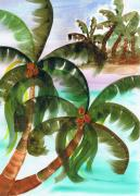 Coconuts Posters - Palm Trees Breeze Poster by Cheryl Fox