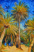 Flora Painting Prints - Palm trees Print by George Rossidis