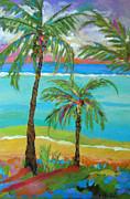 Palm Trees In Landscape Print by Karen Fields