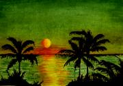 Setting Mixed Media Framed Prints - Palm Trees Setting Sun Framed Print by Michael Vigliotti