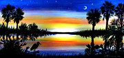 Stars Pastels Posters - Palmetto Moon Low Country Sunset II Poster by Patricia L Davidson 