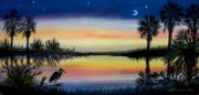 Gulf Pastels Posters - Palmetto Tree and Moon Low Country Sunset Poster by Patricia L Davidson