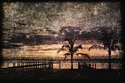 Horizontal Abstract Landscape Prints - Palms and Docks Print by Skip Nall