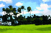 Greens Paintings - Palms at Kapiolani Park by Douglas Simonson